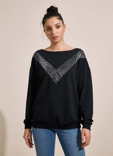 Styletag Sim Garnili Sweatshirt Siyah
